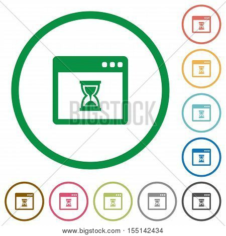 Waiting application flat color icons in round outlines