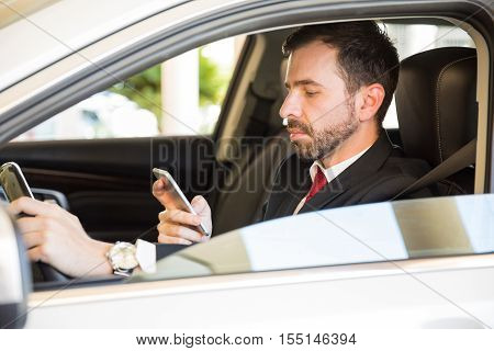 Businessman Texting And Driving