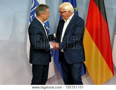 POTSDAM GERMANY. SEPTEMBER 1ST 2016: Federal Foreign Minister Dr Frank-Walter Steinmeier welcomes Gilbert Saboya Sunye Minister of Foreign Affairs of Principality of Andorra to the Informal OSCE Foreign Minister's Meeting held in Potsdam Germany