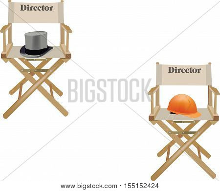 canvas chair with hat and written director