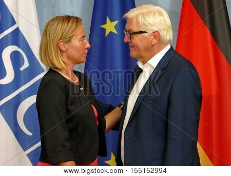 POTSDAM GERMANY. SEPTEMBER 1ST 2016: Federal Foreign Minister Dr Frank-Walter Steinmeier welcomes Federica Mogherini High Representative of the European Union for Foreign Affairs and Security Policy to the Informal OSCE Foreign Minister's Meeting held in