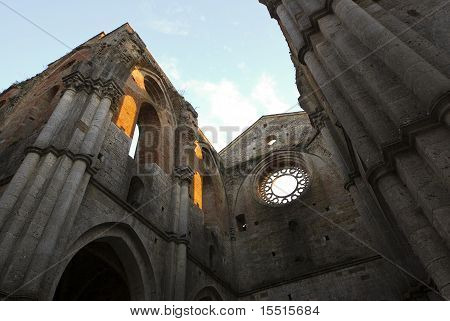 Abbey Of San Galagano At Sunset