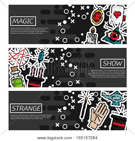 Set of Horizontal Banners about magic. Vector illustration, EPS 10