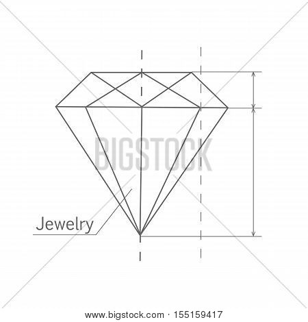 Diamond graphic scheme. Diamond shape. Blueprint outline jewelry gem. Craft jewelry making. A handmade jeweler process, manufacture of jewelery. Isolated vector illustration on white background.