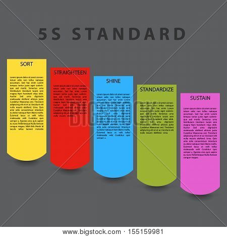 5S standard paper template. Colorful objects with place for description and shadow effect under objects.
