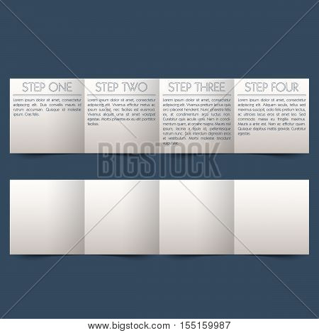 Timeline brochure. Four step paper template with place for text.