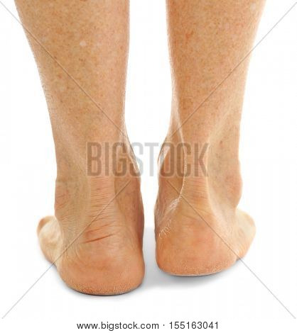 Female heels on white background, closeup