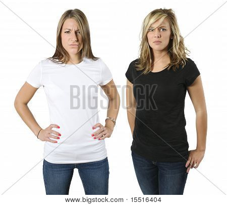 Young Angry Women With Blank Shirts
