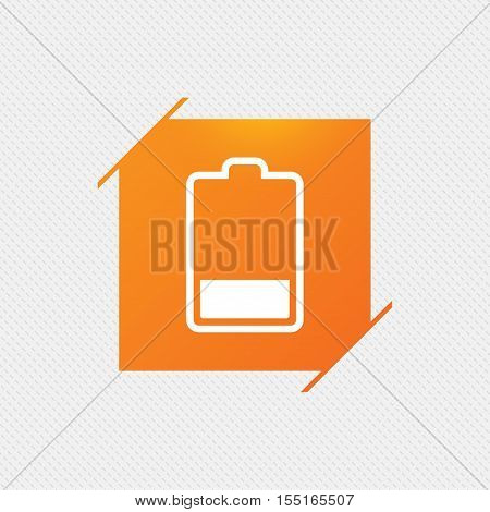Battery low level sign icon. Electricity symbol. Orange square label on pattern. Vector