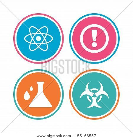Attention and biohazard icons. Chemistry flask sign. Atom symbol. Colored circle buttons. Vector