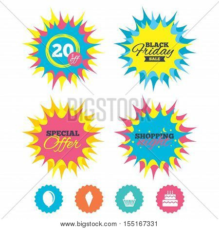 Shopping night, black friday stickers. Birthday party icons. Cake with ice cream signs. Air balloon symbol. Special offer. Vector