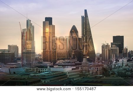 LONDON, UK - DECEMBER 19, 2016: London at sunset, business and banking aria