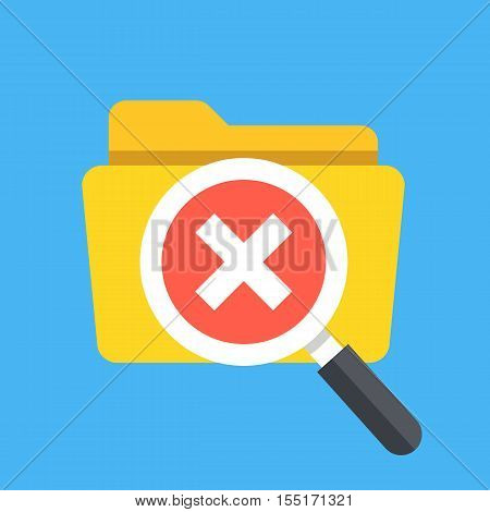 Folder and magnifying glass with cross checkmark icon. Modern flat design vector illustration