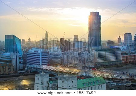 LONDON, UK - DECEMBER 19, 2016:  London view at sunset. View at Westminster side of the city and river Thames
