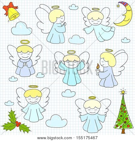 Set of vector Christmas angels and ornaments in doodle style (included xmas tree;  mistletoe; angels; bell;  pine; crescent, clouds). Can be used for xmas or winter design