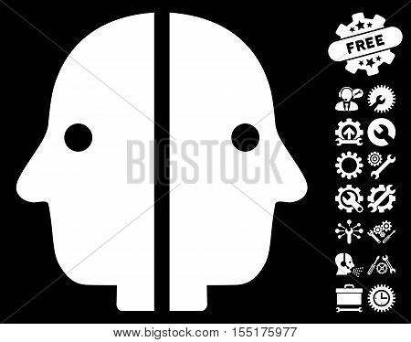 Dual Face pictograph with bonus tools pictograms. Vector illustration style is flat iconic symbols on white background.