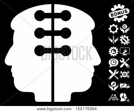 Dual Head Interface icon with bonus setup tools pictograph collection. Vector illustration style is flat iconic symbols on white background.