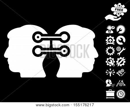 Dual Heads Interface Connection icon with bonus options design elements. Vector illustration style is flat iconic white symbols on black background.