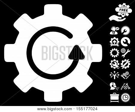 Gear Rotation pictograph with bonus configuration pictograph collection. Vector illustration style is flat iconic symbols on white background.