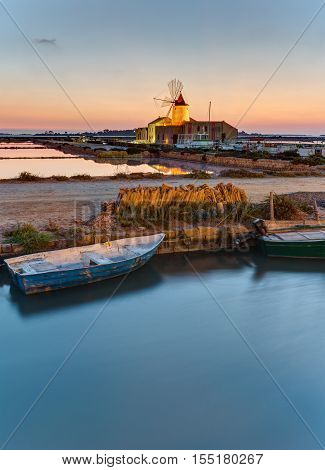 Dawn at the saltpans of Marsala in Sicily, Italy