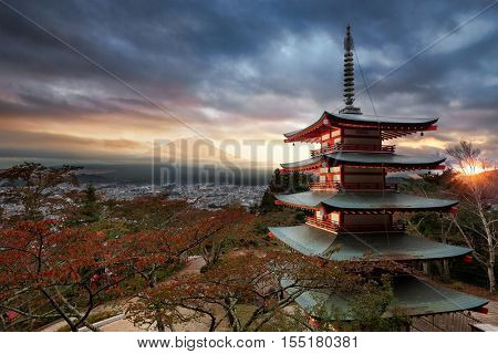 Mt. Fuji with Chureito Pagoda in autumn, Fujiyoshida, Japan
