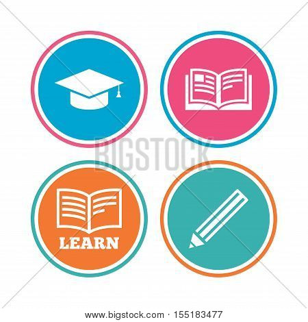 Pencil and open book icons. Graduation cap symbol. Higher education learn signs. Colored circle buttons. Vector