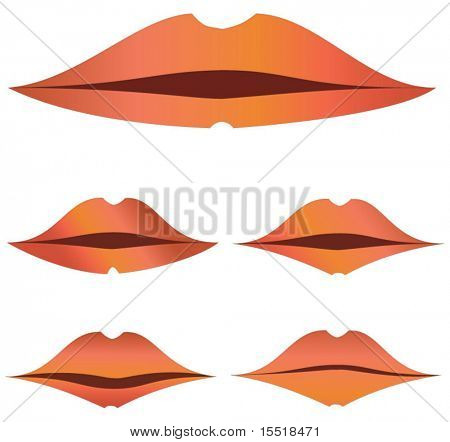 Five various kinds of lips. The vector image.