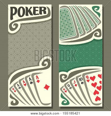 Vector logo of holdem Poker, playing card back for gambling game on green texture felt table in casino club, vertical banner for text title pokers gamble games, card set hand: four of kind, straight
