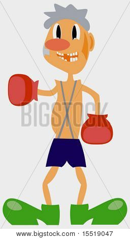The comic image of the boxer. A vector illustration