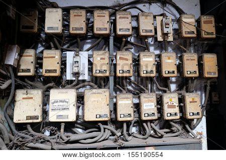 KOLKATA, INDIA - FEBRUARY 11: Dangerous electric fuse installation in Kolkata, India on February 11, 2016.