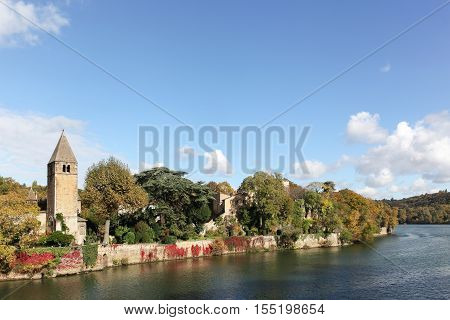 View of Ile Barbe and Saone river in Lyon, France