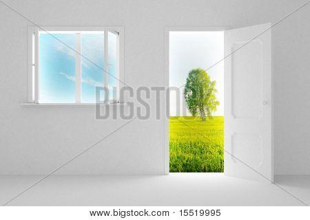 Landschaft hinter der offenen Tür und Fenster. 3D-Bild