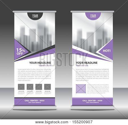 Purple roll up business brochure flyer banner design vertical template vector, x-stand, flag-banner, advertisement template