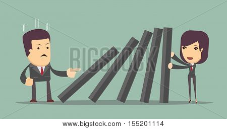 Business woman pushing hard against falling deck of domino tiles. Business Concept