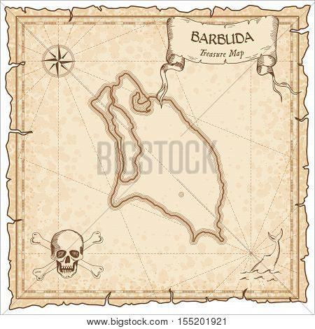 Barbuda Old Pirate Map. Sepia Engraved Parchment Template Of Treasure Island. Stylized Manuscript On