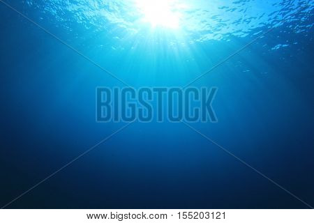 Underwater blue ocean background in sea