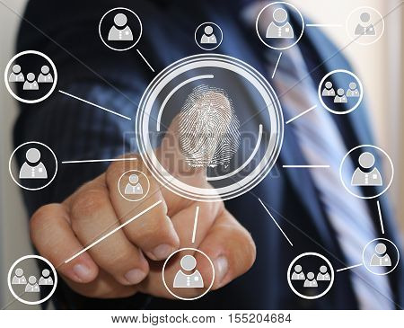 Businessman pressing modern technology with a fingerprint reader on a virtual screen. Electronic security system, access via the fingerprint reader