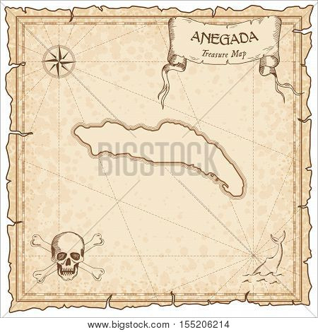 Anegada Old Pirate Map. Sepia Engraved Parchment Template Of Treasure Island. Stylized Manuscript On