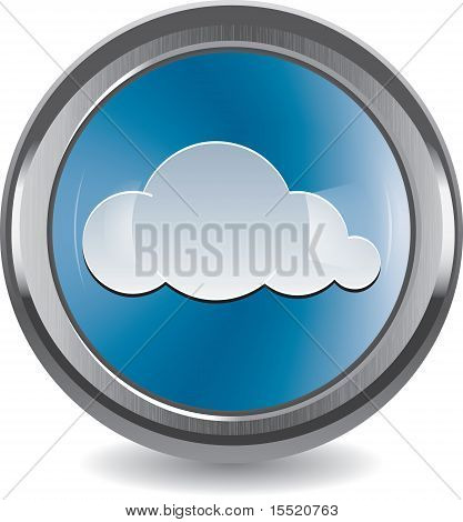 Brushed Metal And Chrome Button With Cloud