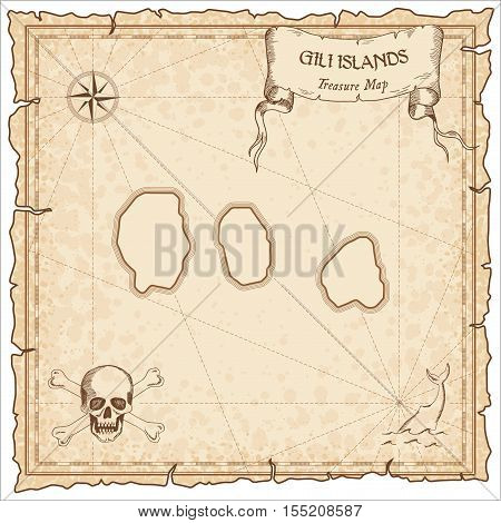 Gili Islands Old Pirate Map. Sepia Engraved Parchment Template Of Treasure Island. Stylized Manuscri