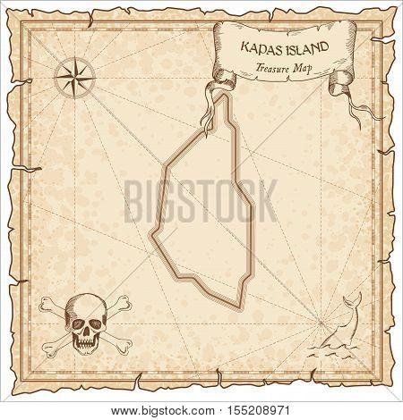 Kapas Island Old Pirate Map. Sepia Engraved Parchment Template Of Treasure Island. Stylized Manuscri