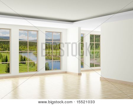Empty room. Landscape behind window. 3D image