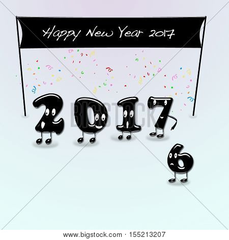 Cartoon of 2017 numerals with text Happy New Year. 3d rendering.