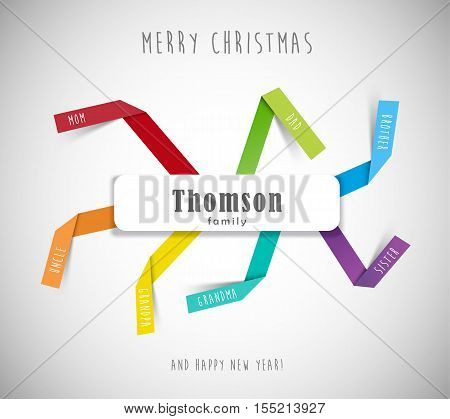 Christmas best wishes for family template with colorful folded paper stripes and place for family member names.