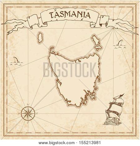Tasmania Old Treasure Map. Sepia Engraved Template Of Pirate Island Parchment. Stylized Manuscript O