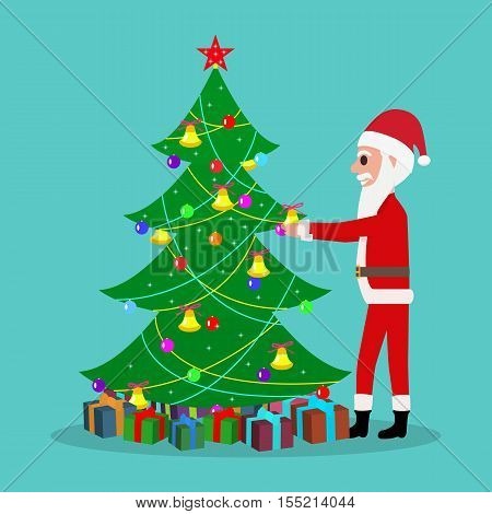 Vector illustration of funny cute cartoon Santa Claus decorate the Christmas tree. Father Frost Christmas toys hanging on fir tree. Flat style.