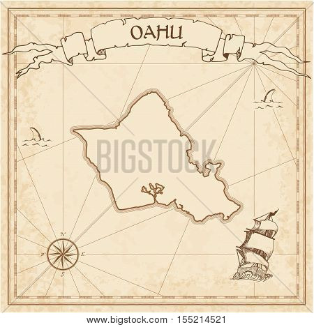Oahu Old Treasure Map. Sepia Engraved Template Of Pirate Island Parchment. Stylized Manuscript On Vi