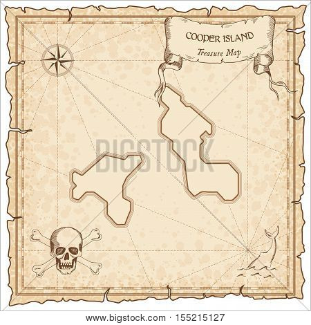 Cooper Island Old Pirate Map. Sepia Engraved Parchment Template Of Treasure Island. Stylized Manuscr