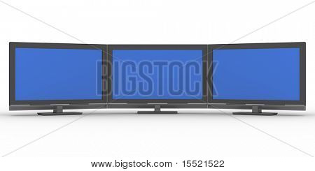 Three TV on white background. Isolated 3D image