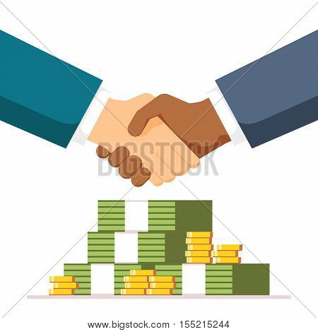 Bribe. Handshake on money background. The two men entered into a deal. Partners shake hands with each other. Vector, illustration EPS10